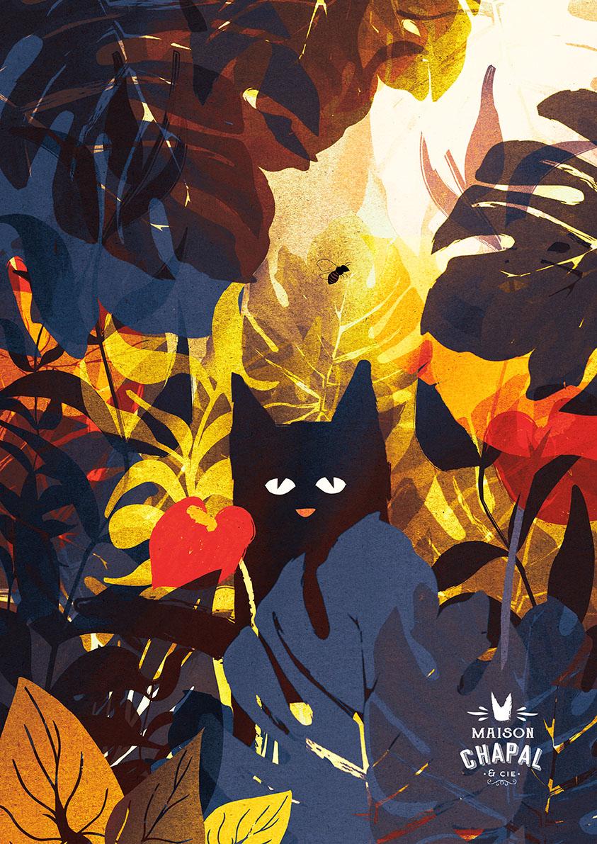 Carte Postale Cat & Bee #1