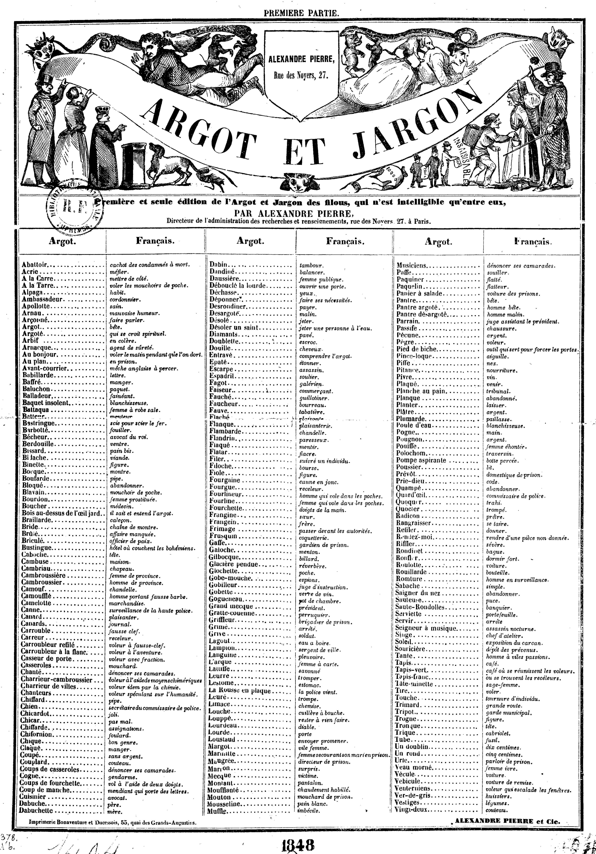 Argot et jargon des filous | Alexandre Pierre (1848)